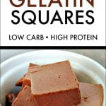 These creamy low carb chocolate gelatin squares are the perfect treat that uses Great Lakes Gelatin. It's creamy, silky, chocolate flavor is packed with protein. Only 4.2g net carbs per serving.