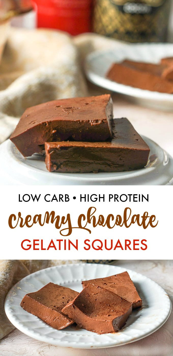 Chocolate gelatin squares on plate with text overlay.