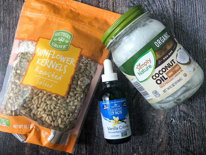 ingredients to make sunflower seed butter: sunflower kernels, coconut oil and liquid stevia