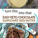 glass dish with keto chocolate sunflower seed butter and text
