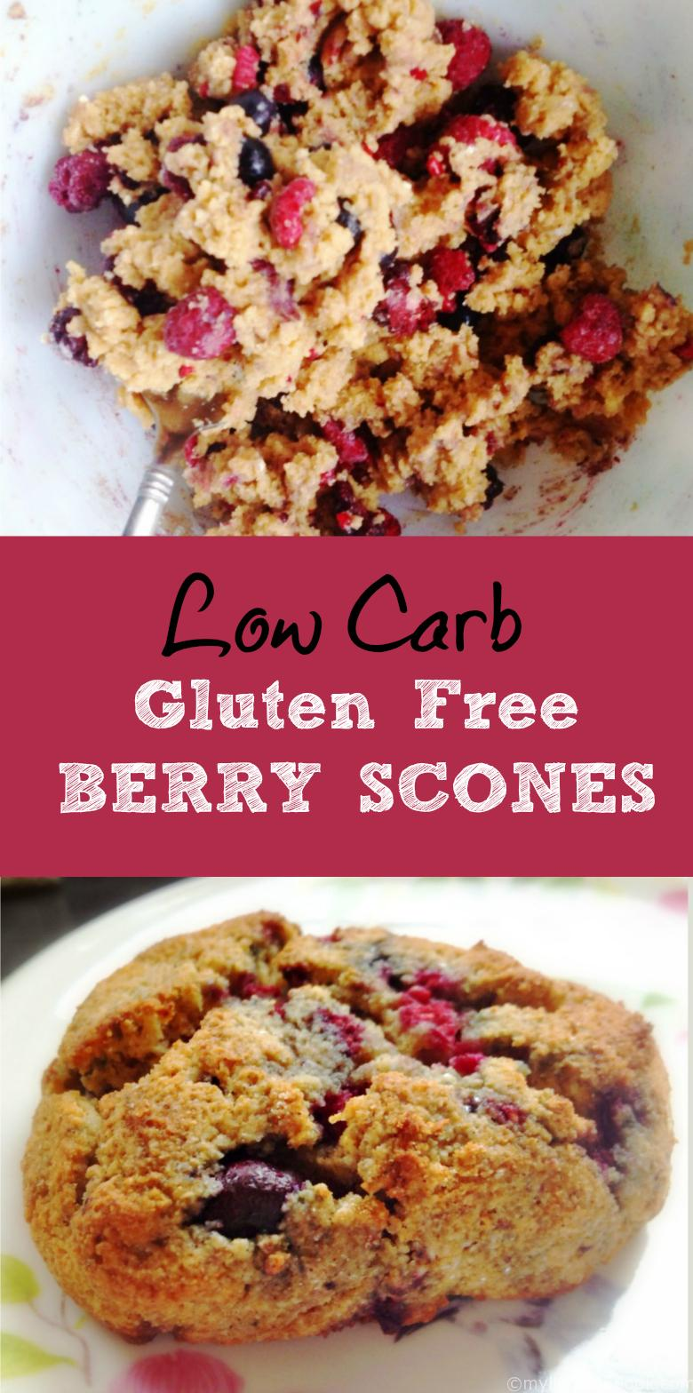 These low carb berry scones not only low carb, they are gluten free and so delicious! Using almond flour and frozen berries it takes only minutes.