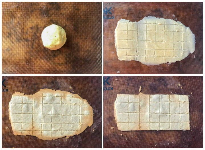 collage of steps to make the cracker dough