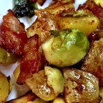 Bacon, Brussels and Potato Fry Up