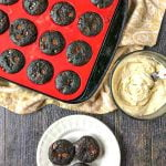 mini sugar free chocolate muffins in red tin with text