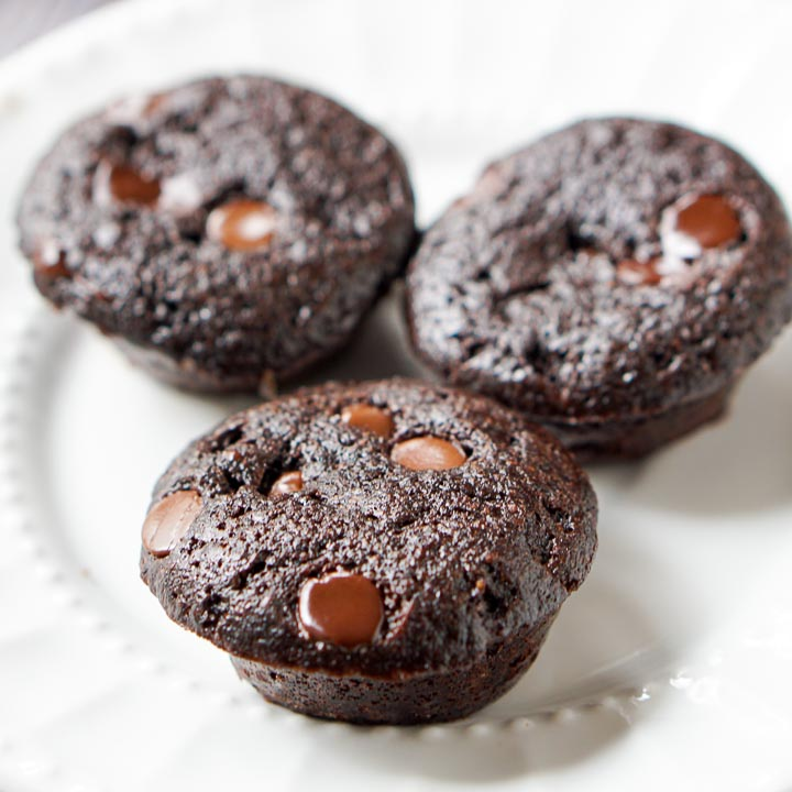white plate with 3 mini sugar free chocolate muffins