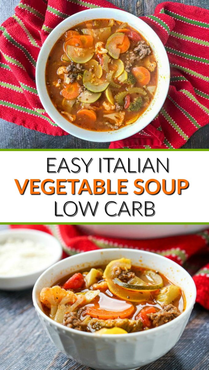white bowl with easy low carb Italian vegetable spot with red tea towel and text