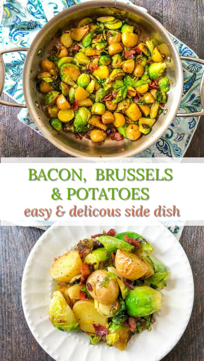 pan and plate of bacon, Brussels sprouts & potatoes side dish with text