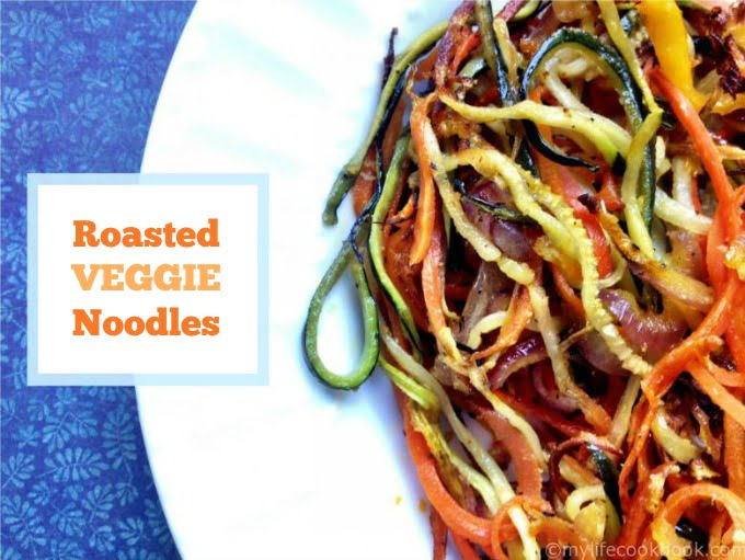 Try this roasted veggie noodles for a delicious and healthy side dish or just to use up all those veggies from your garden. So simple but tastes great.