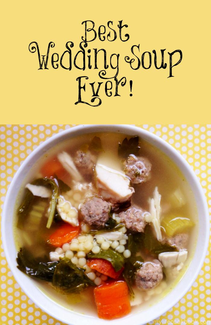 This is the best wedding soup ever, according to my son and husband! Rich chicken broth, shredded chicken, meatballs and pasta make for a hearty soup.