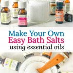 essential oil bottles and a jar of bath salts with text overlay