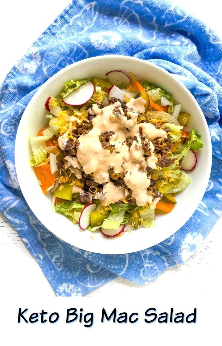 white bowls with keto Big Mac salad and text overlay