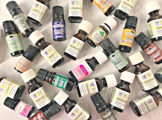 many bottles of essential oils - aura cassia and plant therapy brands