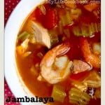 This low carb Jambalaya is a delicious combination of shrimp, chicken, sausage and vegetables in a spicy tomato based broth. Eat as is for a Paleo soup or over rice for a tasty meal.