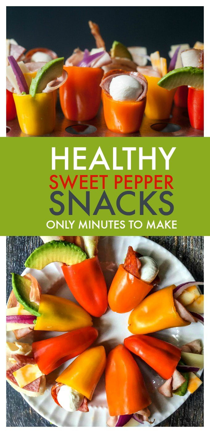 These healthy sweet pepper snacks are perfect for when you need a snack on the go. Plus they are filling enough for lunch and only take minutes to make!
