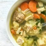 This is theeasiest & best wedding soup ever, according to my son and husband! Rich chicken broth, shredded chicken, meatballs and pasta make for a hearty soup. I even have adelicious low carb version too!