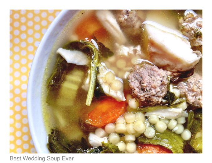 This is the easiest & best wedding soup ever, according to my son and husband! Rich chicken broth, shredded chicken, meatballs and pasta make for a hearty soup. I even have a delicious low carb version too!