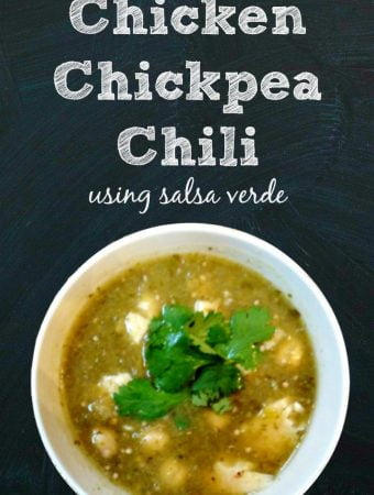 This chicken and chickpea chili is so easy. Just add salsa verde, chickpeas and cooked chicken in a pan and you have a delicious meal.