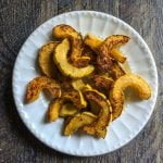 These delicata fries are a delicious change of pace. They are a good lower carb substitute for potatoes.