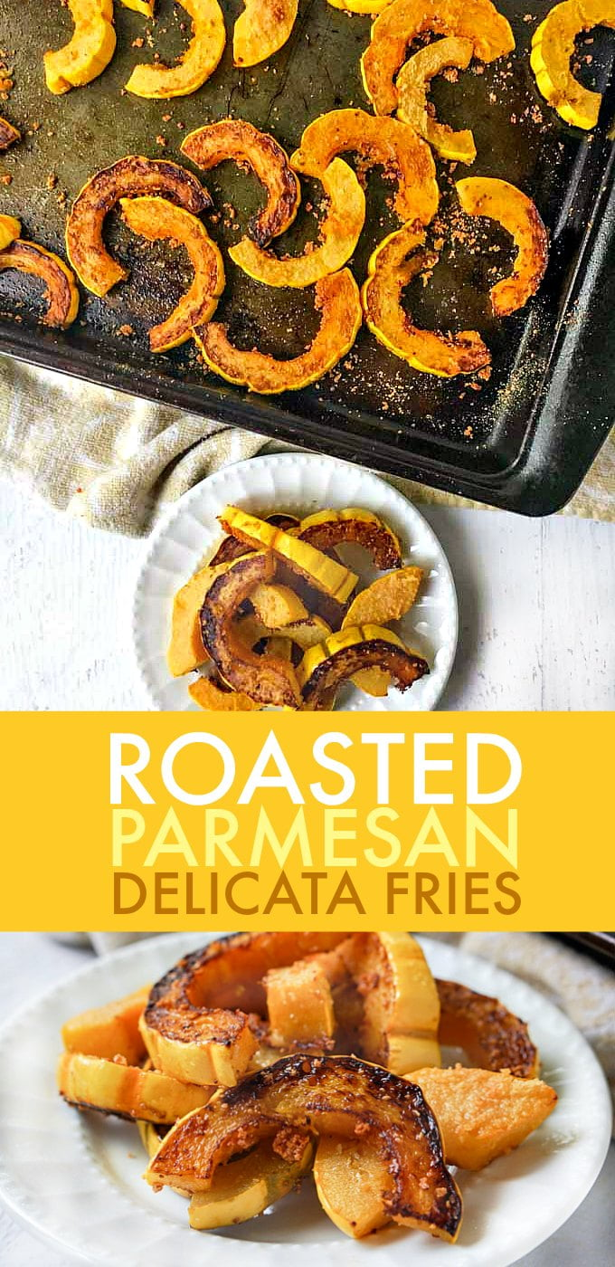 These roasted Parmesan delicata fries are a delicious change of pace this fall. They are a good lower carb substitute for potatoes.