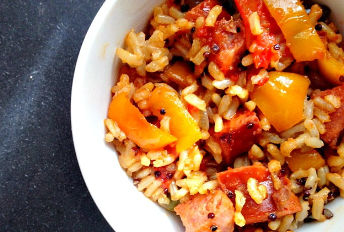Enjoy a quick and easy meal that very tasty. Cajun peppers & rice with kielbasa is a dish you make in no time at all and you family will really enjoy it!