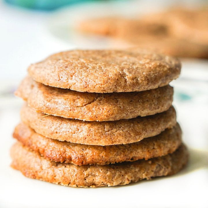 5 keto almond butter cookies stacked