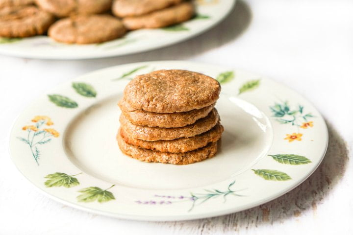 herbal motif plate with 5 stacked healthy flourless cookies