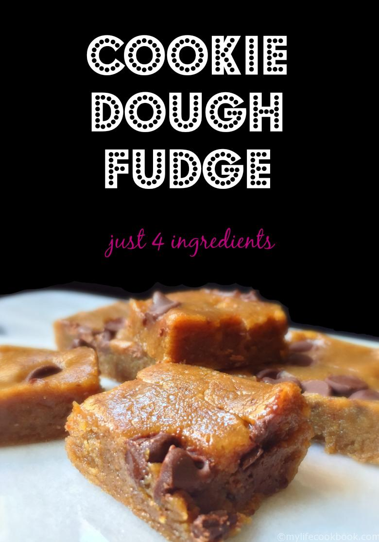 This delicious cookie dough fudge only has 4 ingredients and is gluten free and healthy.
