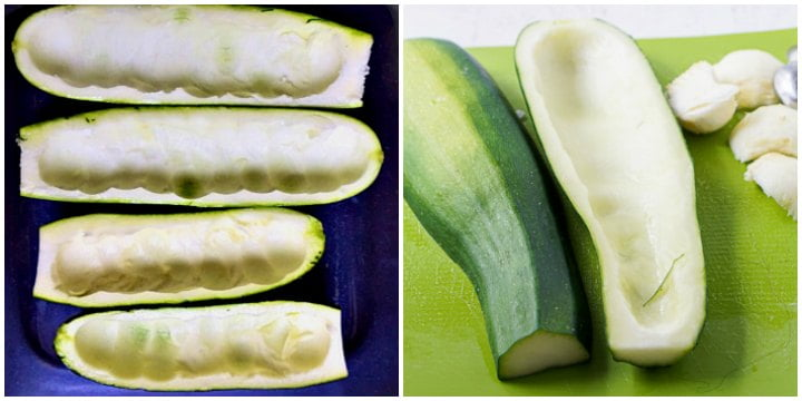 1 pics of raw cleaned out zucchinis both small and large