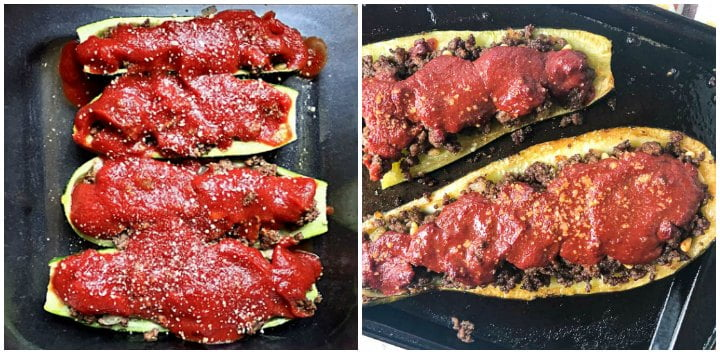 two pics side by size. One with smaller stuffed zucchini and the other with a big stuffed zucchini
