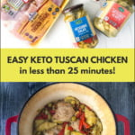 red pot and ingredients with keto tuscan chicken and text