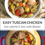 red pot and white bowl with keto tuscan chicken and text