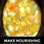 slow cooker with ingredients to make bone broth with text overlay
