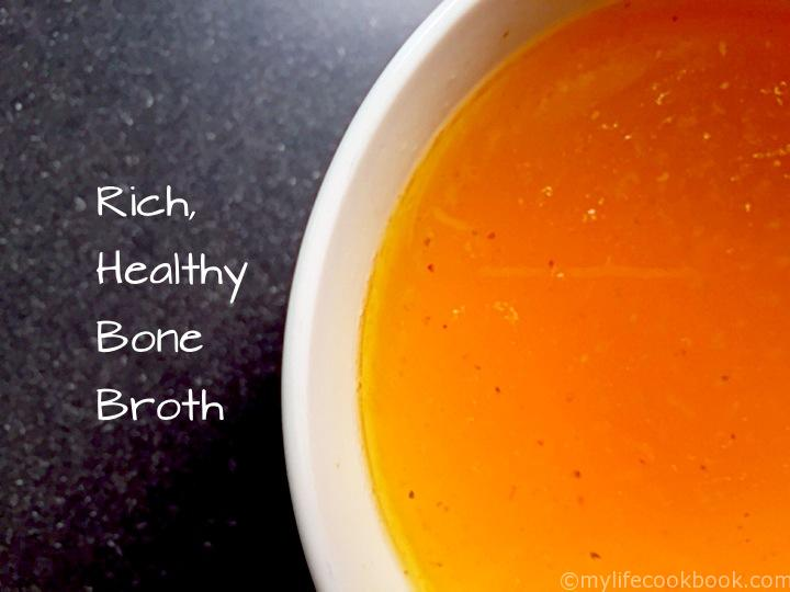 Nourishing bone broth is full of minerals, amino acids and healthy things like gelatin and collagen. Easy to make and inexpensive too. Great to make a big batch in your slow cooker and freeze for later
