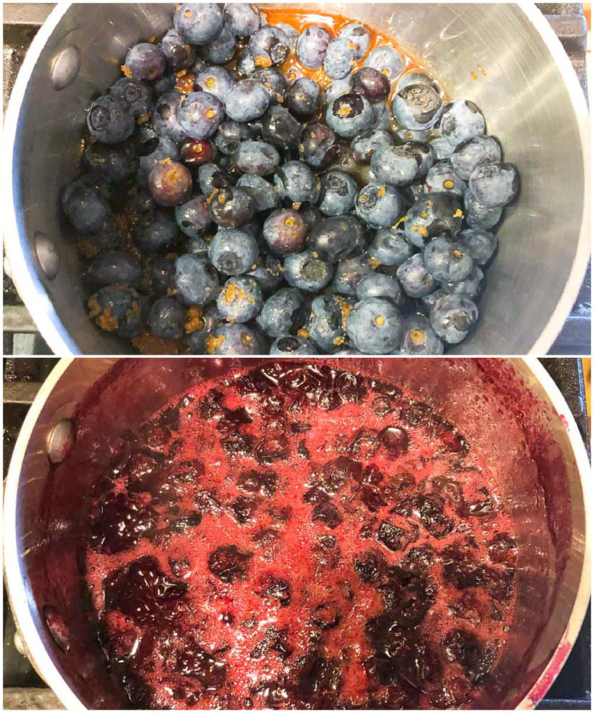 collage of a pan of blueberries and another of the blueberry sauce