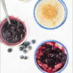 blue glass cup with Instant Pot coconut milk yogurt with berry sauce and text