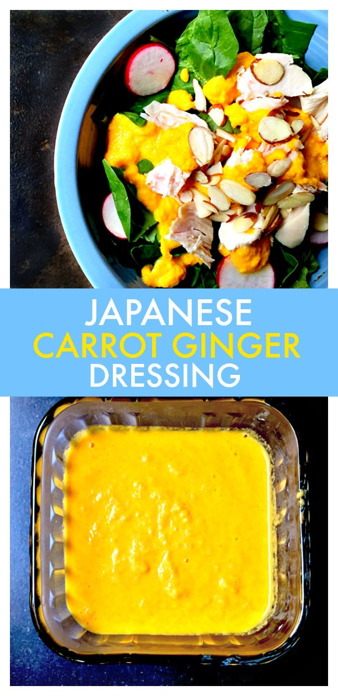 This carrot ginger dressing is fresh and tasty! It's similar to the kind you get a Japanese hibachi restaurant and only 5 minutes to make this tasty dressing!