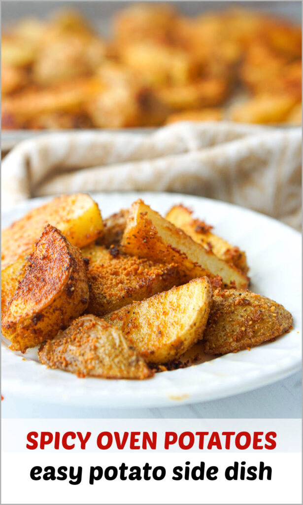 white plate with spicy roasted potatoes and text