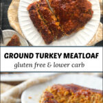white plate with turkey meatloaf and text
