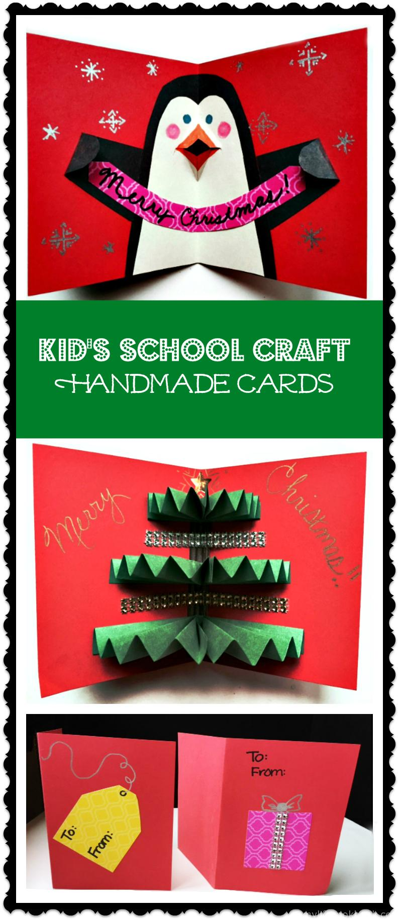 A fun Christmas craft for kids to make at school, handmade cards.