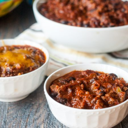 My mom's turkey chili is more like a hearty stew and perfect over rice or macaroni. It's a recipe my mom always used to make and one that we still love today.