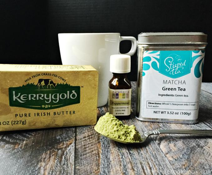 Enjoy a hot cup of minty butter matcha as a pick you up in the morning. Healthy fats and matcha green tea make for a healthy breakfast choice.