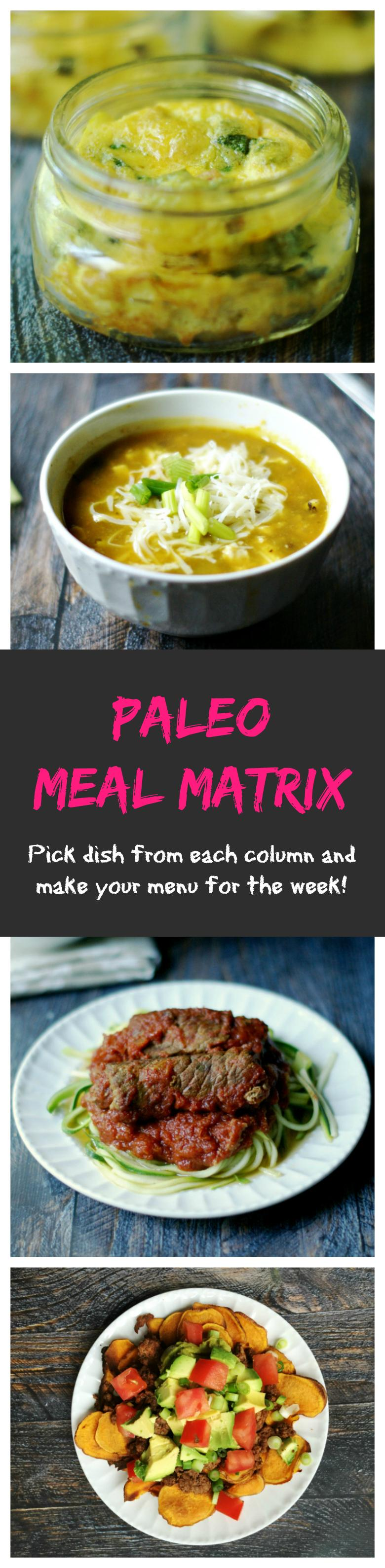 This Paleo Meal Matrix makes planning your meals easy. Just pick a dish from each column to plan your menu for the day. Click on the link for the recipe. Easy peasy.