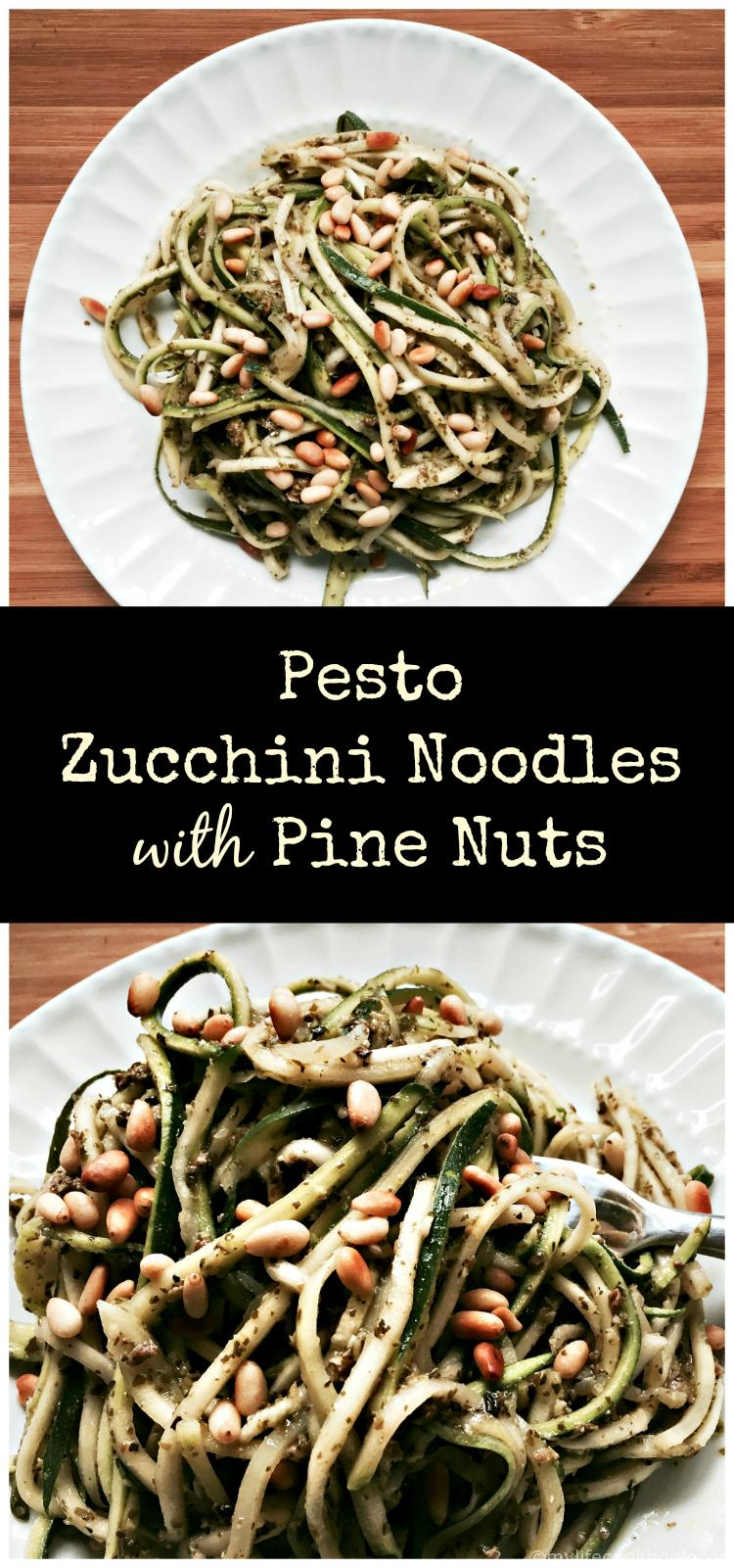 These zucchini noodles taste perfect with a prepared pesto and sprinkled with pine nuts for a healthy dinner that tastes great!