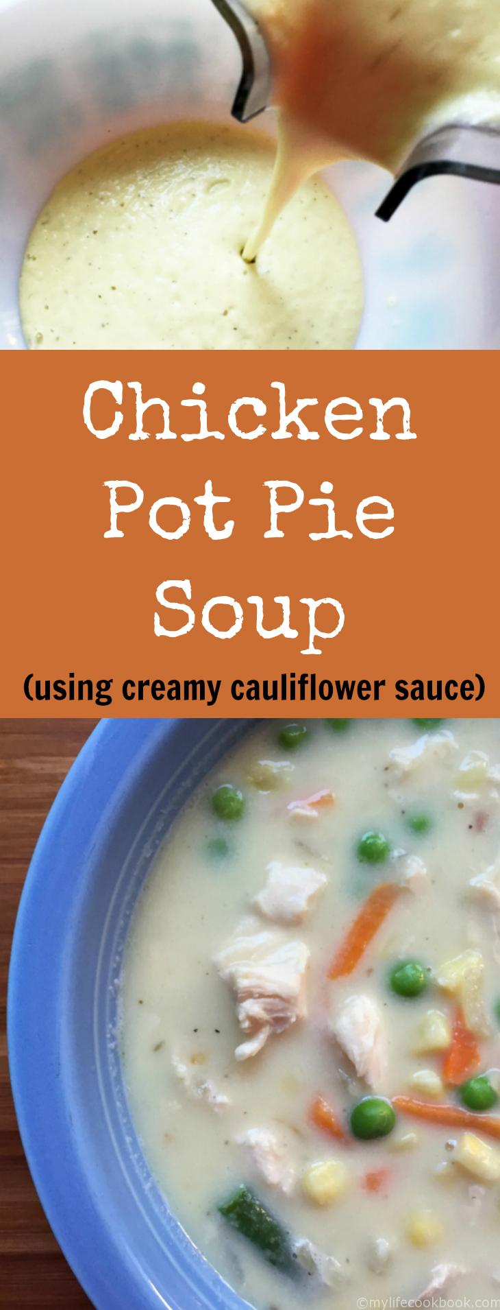 This Paleo chicken pot pie soup uses a creamy, cauliflower sauce instead of cream. Takes little time and uses items you probably have on hand.