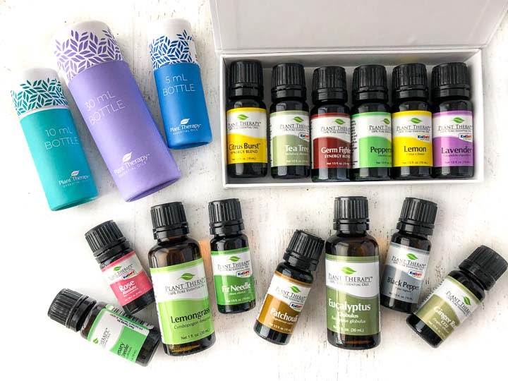 Plant Therapy essential oils - a  cleaning kit, and singles and bright tube packaging