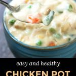 blue bowl with low carb chicken pot pie and text