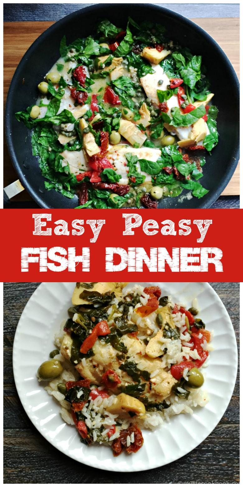 Easy Peasy Mediterranean Fish Dinner. Just takes a few ingredients and you can make this delicious dinner in minutes!