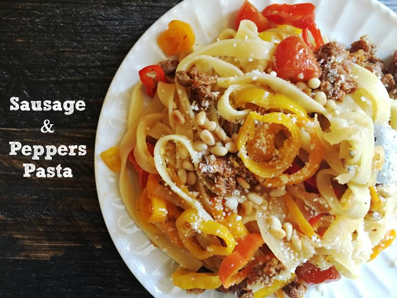 This sausage & peppers pasta dish is a quick and easy meal that you can use on pasta or zucchini noodles. It's low carb (using the zoodles) and delicious!