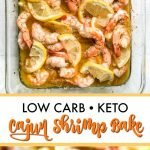 baking dish with keto cajun shrimp and text overlay