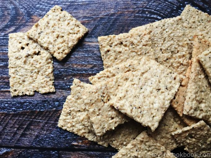 low carb crackers scattered on table